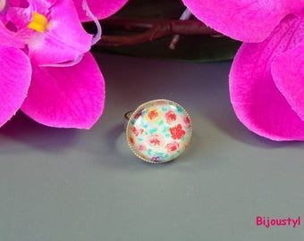 """Multicolor Roses"" - 20 mm Cabochon - fancy ring"