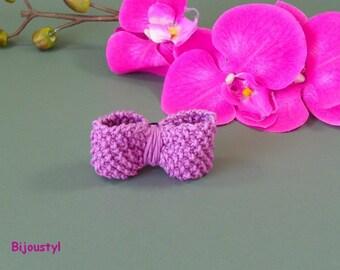 Clip - Brooch Butterfly knitted Moss purple cotton yarn