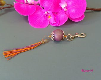 Original this bag Tagua jewelry purple and orange and purple tassel
