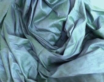 Dupioni silk in blue-green