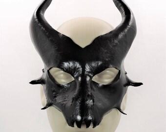 Demon/Devil/Dragon Mask - Black - Leather Mask