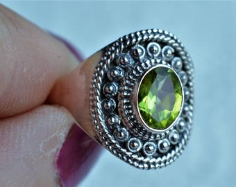 Peridot Sterling Silver Ring Size 7