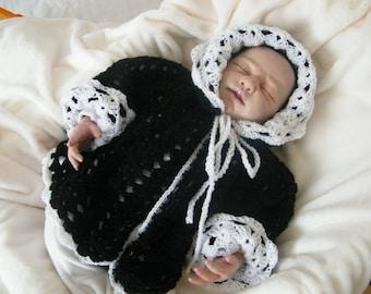 coat with hood, coat, baby Cardigan 0/6 months baby crochet wool black/white