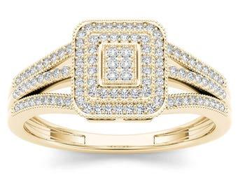 10Kt Yellow Gold 0.15 Ct Diamond Engagement Ring