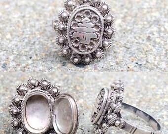 20% OFF vintage filigree ornate tree design sterling silver poison locket ring size 7.25