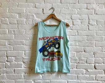 80s monster trucks car racing automobile vintage tank top short sleeve tee 50/50 cotton poly blend large
