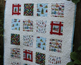 Christmas Skaters Throw Quilt // Christmas Gift // Baby Gift // Ornament Quilt // Christmas Quilt // Winter Quilt