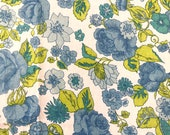Blue Green Floral Sheeting Fabric 146x50