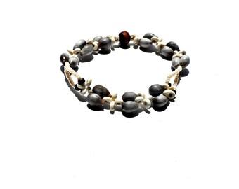 Seed Bead Beaded Bracelet with Job's Tears, Brown Coconut Disc Beads & Ivory Howlite Heishi Beads /  Beach Bracelet / Bohemian Bracelet