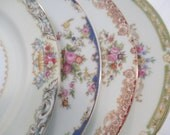 Vintage Mismatched China Salad Plates for Farmhouse, Rustic, Shabby, Tea Party, Wedding, Bridal Shower, Luncheon, Cake Plates - Set of 4