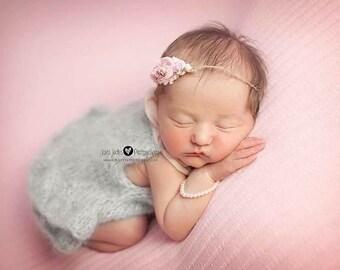 Newborn props - Newborn romper - Baby girl props - Photo props - Newborn girl - Baby photo prop - Newborn baby photo - Light gray -Baby girl