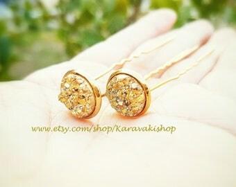 Gold hair pins,Wedding Gold hair accessories,U shape Druzy hair pin,Bridal bridesmaid hair pins,Gold wedding,Wedding hair pin,Gold jewelry
