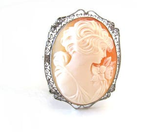 Large antique cameo brooch pin carved from carnelian shell and set in sterling silver, 1920s jewelry