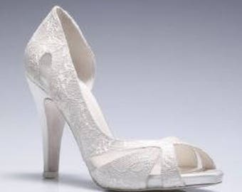 Wedding shoes, 4 inches Handmade lace ivory wedding shoe designed specially  #8473