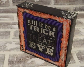 Mixed Media Halloween Canvas..Halloween Mixed Media..Halloween Art..Halloween Decor..Mixed Media Art..Mixed Media Canvas.. Orange And Black