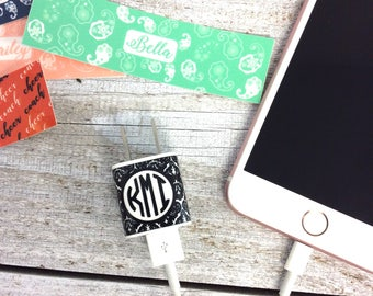 Phone Charger Wrap, Smartphone Decal, Monogram Decal