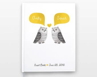 OWL Wedding Guest Book, Personalized Wedding Gift, Unique Wedding Guestbook, Hardcover Personalized Notebook, Animal Couple Journal