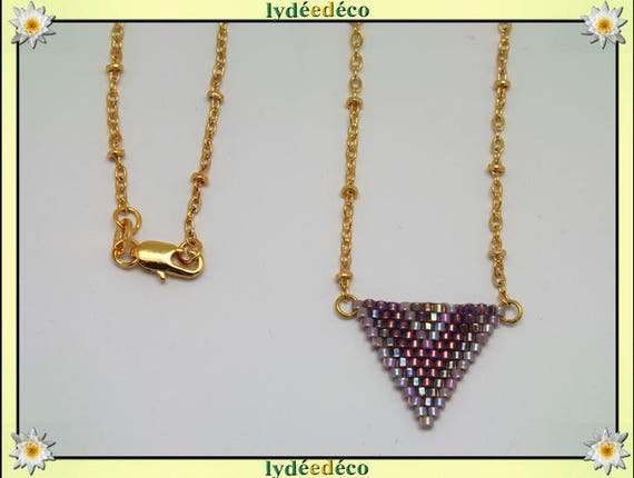 Necklace plated 18 k purple lilac gold woven triangle chevron ball chain