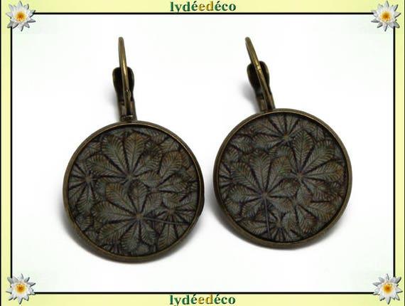 Vintage brown beige leaves resin brass sleepers earrings retro bronze 2cm