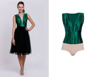 bottle green bodysuit, bottle green top, elegant top, deep neck blouse, sexy bodysuit, elastic top, party top, bodyshaping top