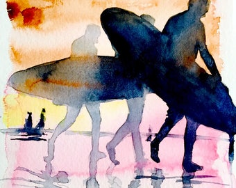 Sunset Surfing Print from Original Watercolor Travel Illustration - Modern Poster Painting - California Bliss - Salty Life