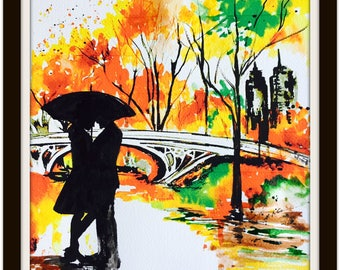 New York City Watercolor, Fall in Love Painting by Lana Moes, Contemporary Home, Romantic Wanderlust, Colorful Season Decor, Gift for Both