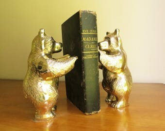 Vintage Brass Bear Bookends Brass Bookends Gold Bear Book Ends Woodland Bookends