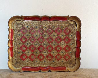 FLORENTINE TRAY - Italian red and gold tray, wooden tray, serving plate, wooden platter, made in Italy, stunning antique piece