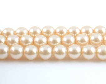 6mm Faux Pearl Beads, Ivory Glass, 1 strand (FP04)