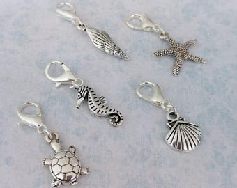Sea themed stitch markers - choose from two sets or individual charms. Hand made by Kathryn of Crafternoon Treats