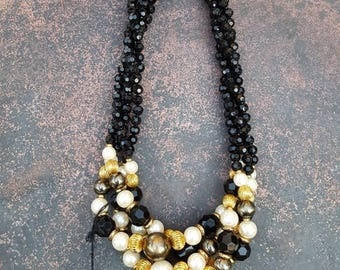 Multi Stand Vintage Beaded  Necklace