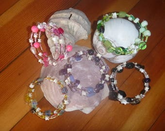 Fish Bone & Glass Bead Bracelet