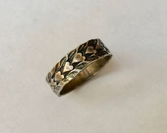 old sterling band of hearts, size 8.5