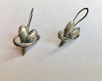 vintage far fetched encircled heart earrings, sterling