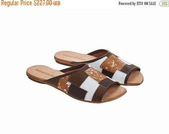 ON SALE Brown leather sliders, Helena, flat sandals, handmade