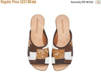 ON SALE Brown leather sandals, Helena, flat sandals, handmade