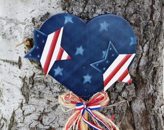 Stars -n- Stripes Forever Patriotic Flag in Heart Shape - Wood Welcome Yard Stick - Americana Sign - 4th of July Decoration