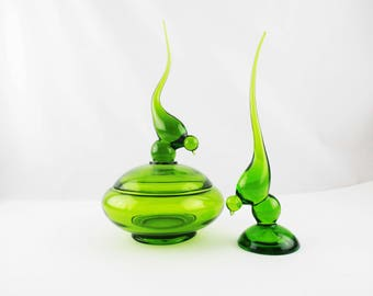 Vintage Viking Art Glass - 'Epic' Bird Figurine and Covered Dish  - 1960s - Grass Green Clear Glass - Covered Bowl With Bird Finial