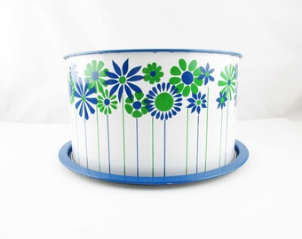Cake Carrier - Navy Blue and Grass Green Cake Carrier - Pop Art Flowers - Cover Anything - Painted Tin - 'J.L. Clark' Cake Carrier