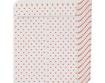 Set of 5 beautiful white envelopes with neon red dots 16 x 23 cm