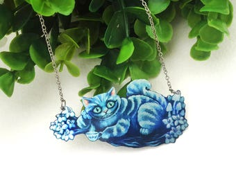 Alice In Wonderland Blue Grinning Cheshire Cat Fantasy Magic Flowers Creepy Cute Metal Statement Necklace
