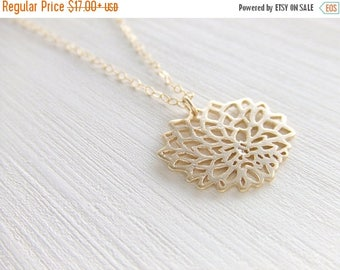 Clearance 20% OFF Sale Chrysanthemum Jewelry Necklace,16K Gold Plated Brass, Gold Filled Chain, Gift for Her, Birthday Gift, Christmas Gift