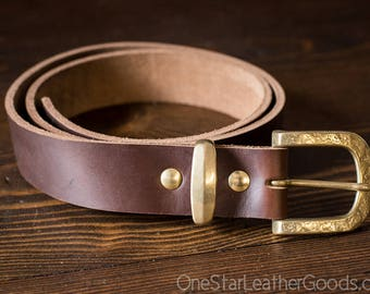 Limited Run Belt - Horween Chromexcel leather - hammered brass Japanese buckle and keeper