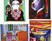 """4 Art Cards, Frida Kahlo Art Card, Dog Card, Vincents Van Gogh Corgi card, I Scream Card,from Paintings by Tod C Steele,5 1/2 x 4 1/4"""""""