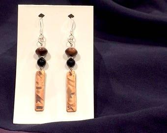 Red Tiger Eye, Black Agate & Copper Swirl Earrings