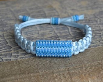 Christmasinjuly Satin string women bracelet Ethnic bracelets shadow blue Organic jewelry Beaded bracelets Tribal Men bracelet  Leather natur