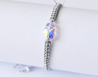 Christmasinjuly Aurore Boreale v.2. Swarovsky Scarab Bracelet Crystal Bracelet Friendship Bracelets Woven bracelet Silver Metallic twine min