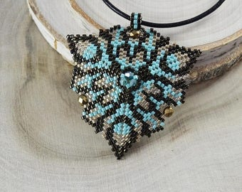 Christmasinjuly 3D turquoise Triangle pendant necklace brown turquoise Unusual necklace seed beads beading peyote stitch Beadwork Summer boh