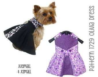 Olivia Dog Dress Sewing Pattern 1729 * XXSmall & XSmall * Dog Clothes Sewing Pattern * Small Dog Dress Pattern * Dog Harness Dress Pattern