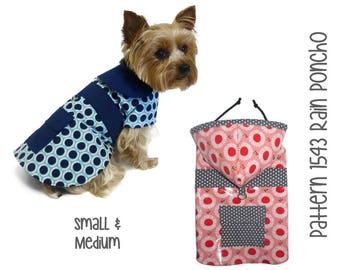 Dog Rain Coat Pattern 1543 * Small & Medium * Dog Clothes Sewing Pattern * Dog Coat Pattern * Dog Jacket * Little Dog Coat * Dog Raincoat